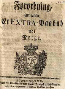 """Bildet viser 1762-forordningen og er en del av nettutstillingen """"Ekstraskatten 1762"""" på Arkivverkets nettsider."""